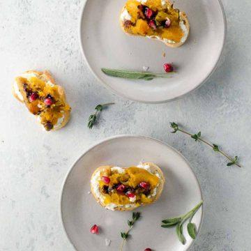 Butternut Squash Bruschetta with Sage and Pomegranate 780 | Umami Girl-2