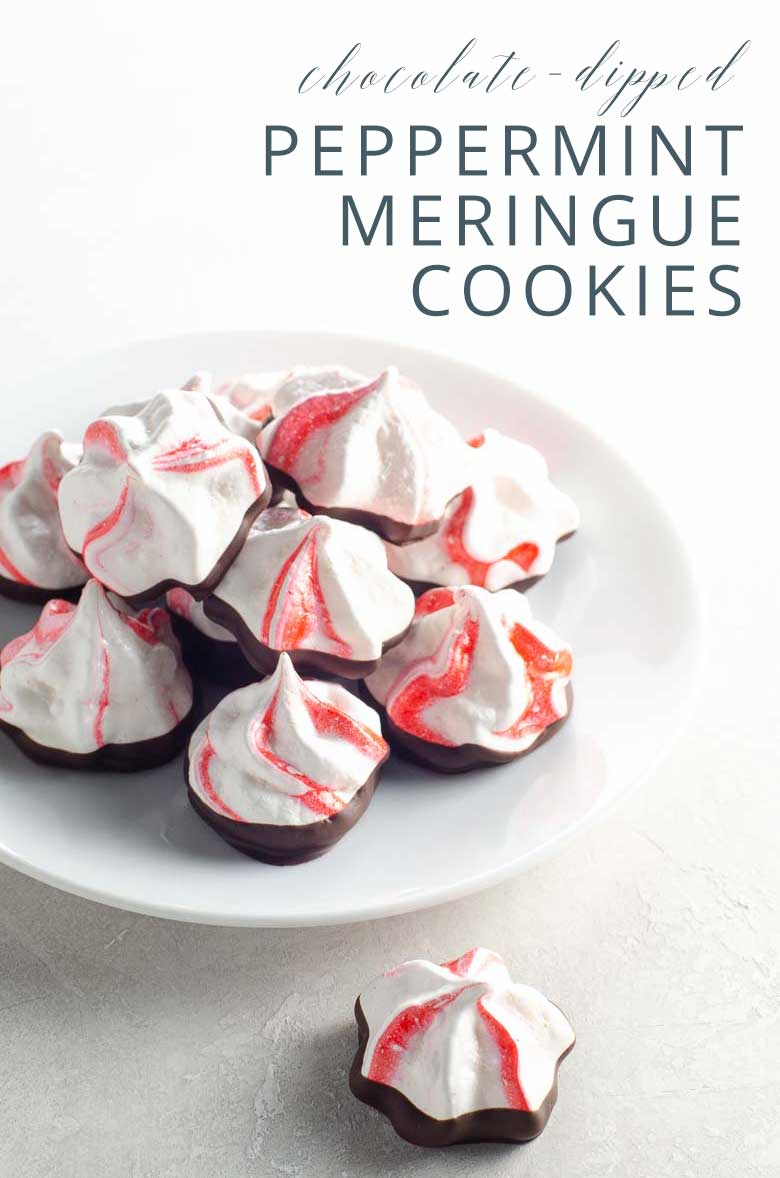 Chocolate Dipped Peppermint Meringue Cookies _ Umami Girl PIN