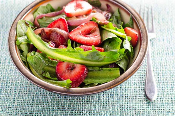 Dandelion Salad with Balsamic Strawberries and Onions
