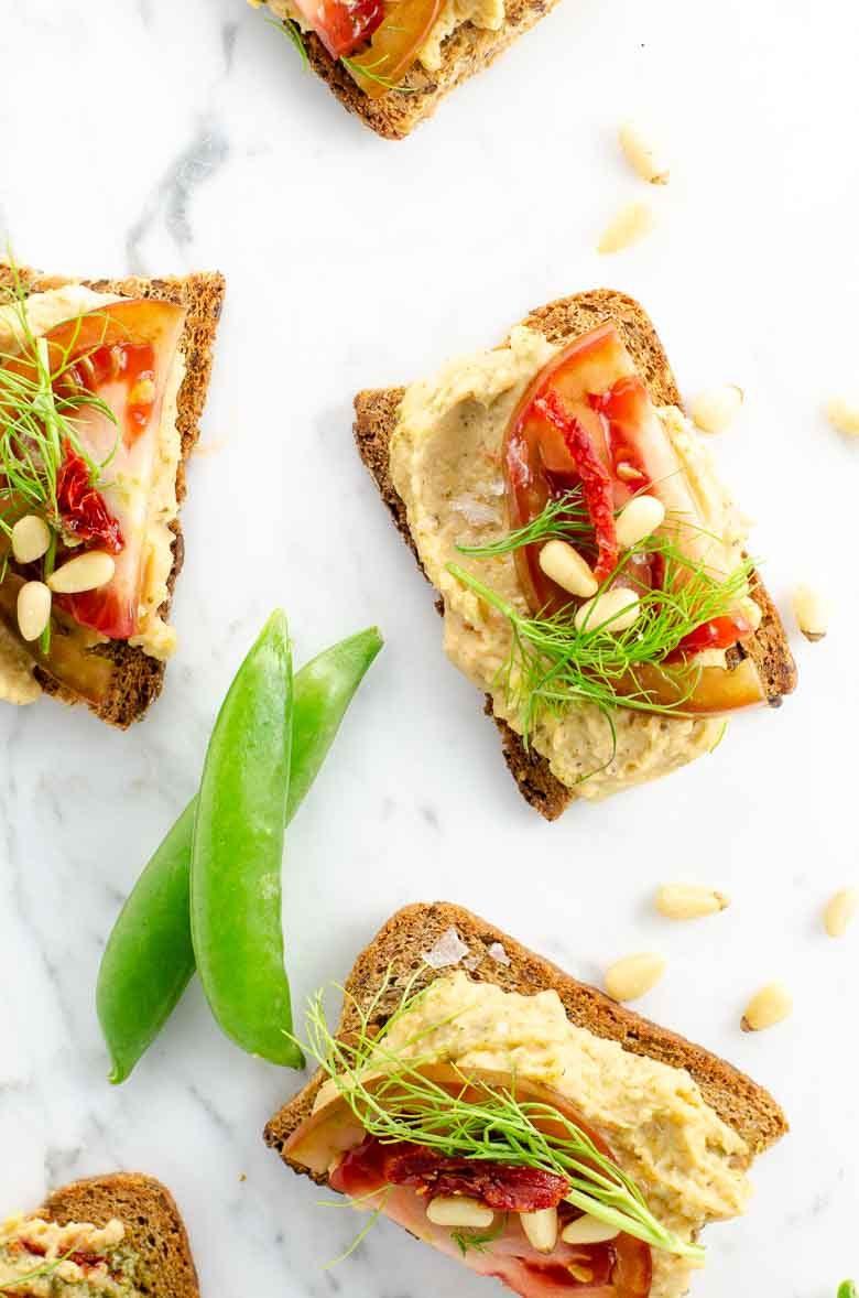 Easy Appetizer Idea White Bean Crostini with Tomato 780 | Umami Girl