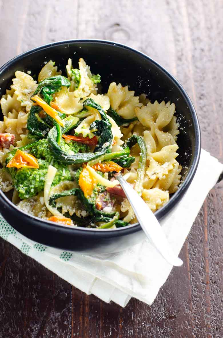 Farfalle with Sopressata and Ramps Recipe 780 | Umami Girl-2