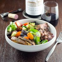Grilled Skirt Steak Salad with Beaujolais