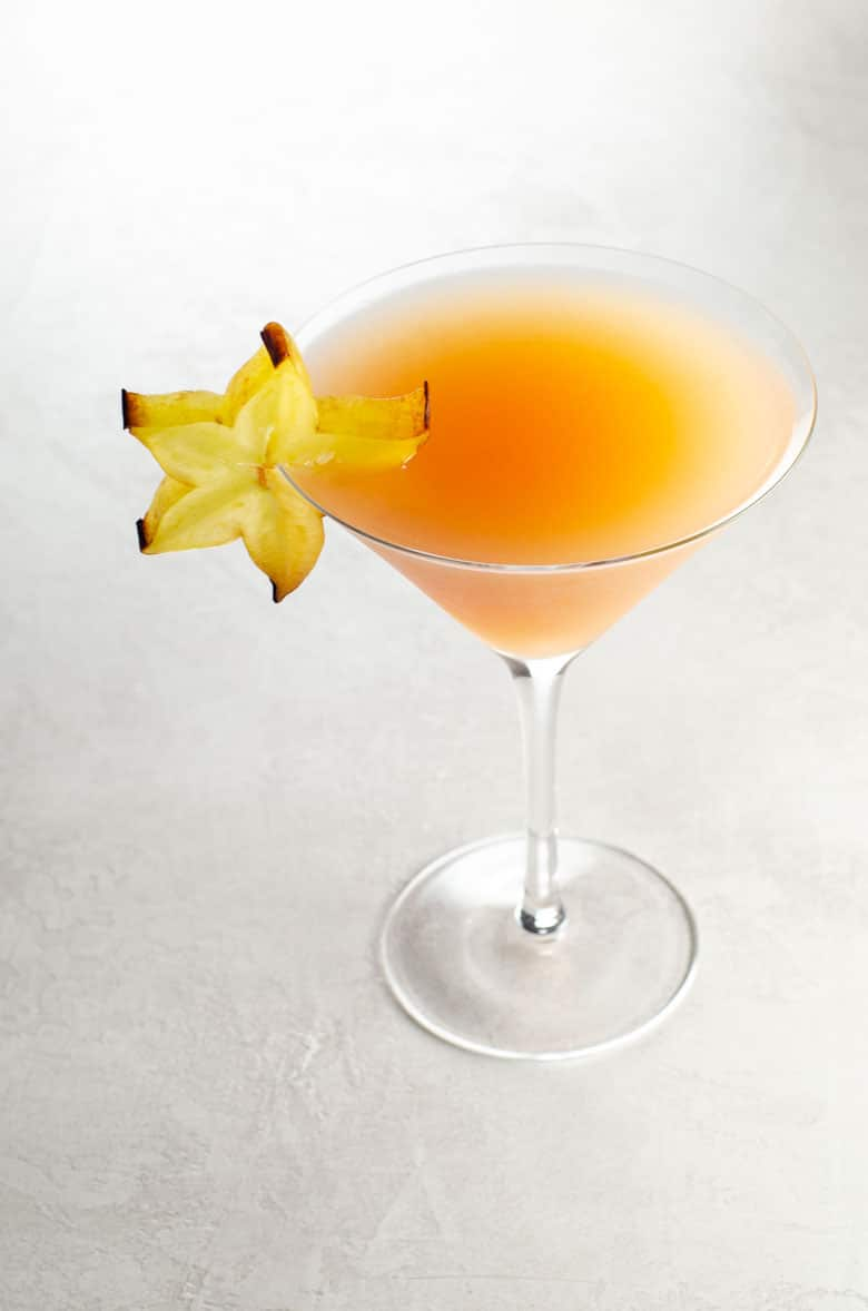 Rising Star lillet blanc cocktail with in a martini glass