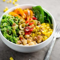 10 Minute Chickpea Broccoli Bowls with Balsamic Vinaigrette