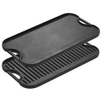 """Lodge Pro-Grid Cast Iron Grill and Griddle Combo. Reversible 20"""" x 10.44"""" Grill/Griddle Pan with Easy-Grip Handles"""