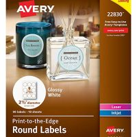 Avery Round Labels, Glossy White, 2.5-Inch size, 90 Labels – Great for Mason Jar Labels (22830)