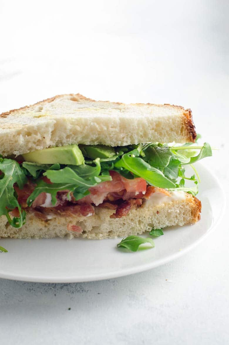 BLT Bacon Lettuce Tomato Sandwich with Avocado | Umami Girl 780-3