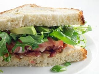 BLT: Bacon Lettuce Tomato Sandwich with Avocado
