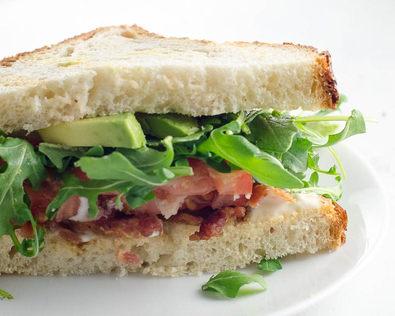 BLT Bacon Lettuce Tomato Sandwich with Avocado | Umami Girl 780-3