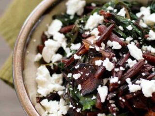 Beet Greens with Bacon and Feta