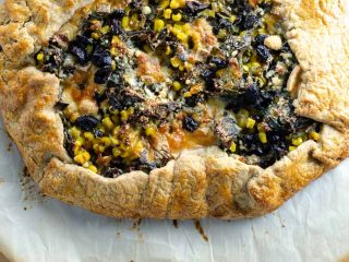 Chard Crostata (Galette) with Corn, Taleggio, and Olives