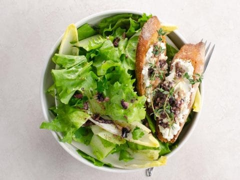 Escarole, Chicory & Endive Salad with Olive Vinaigrette & Goat Cheese Croutons