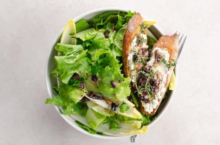 Escarole Chicory Endive Salad With Goat Cheese Croutons Olive Vinaigrette Umami Girl