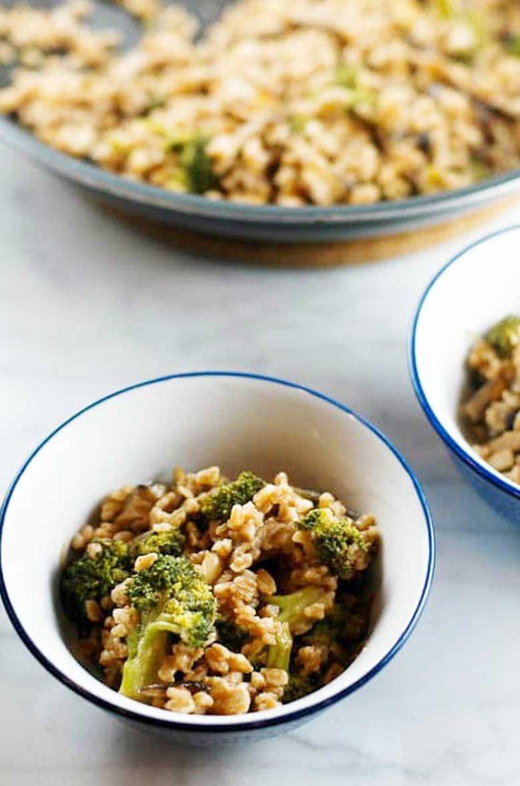 Farro with Broccoli and Shiitakes: A Great Vegetarian Main Dish