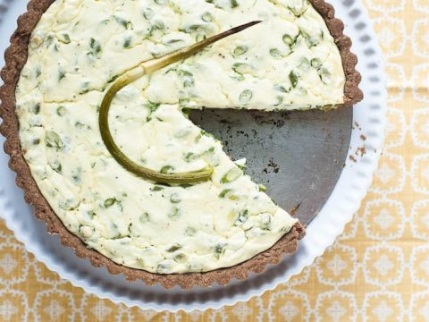Garlic Scape Tart with Ricotta in a Teff Crust