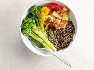 Halloumi, Broccolini, and Lentil Dinner Bowls