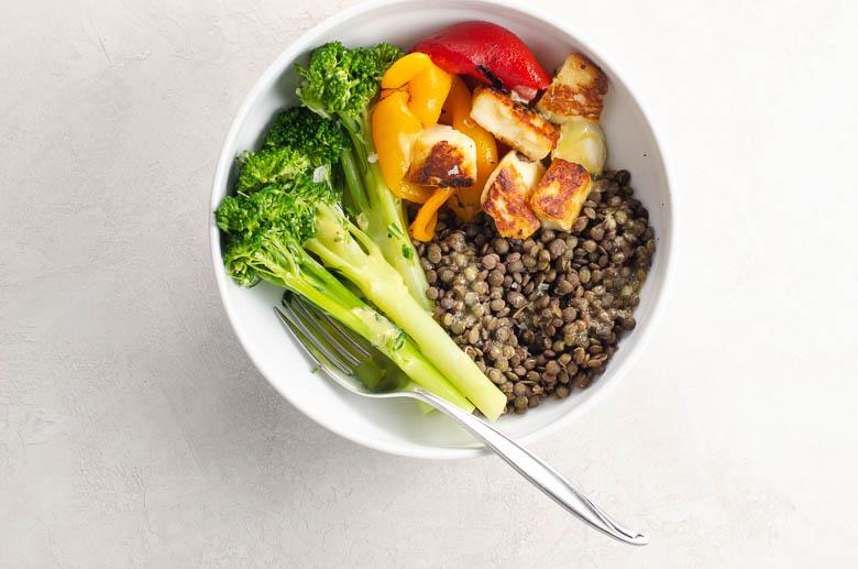 Dinner Tonight: Halloumi, Broccolini, and Lentil Dinner Bowls | Umami Girl 780-3