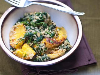 Quinoa Bowls with Winter Squash, Spinach and Cilantro-Lime Dressing