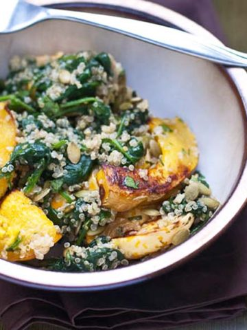 Quinoa Bowls with Winter Squash, Spinach, and Cilantro Lime Dressing 780