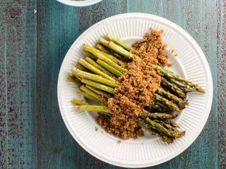 Roasted Asparagus (or Grilled Asparagus) with Buttery Breadcrumbs