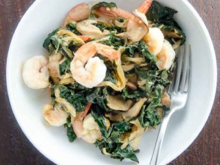 Shrimp with Kale and Shiitakes Skillet Recipe
