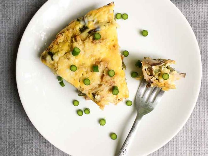 Super-Savory Frittata with Potato, Shiitake and Garlic Scapes