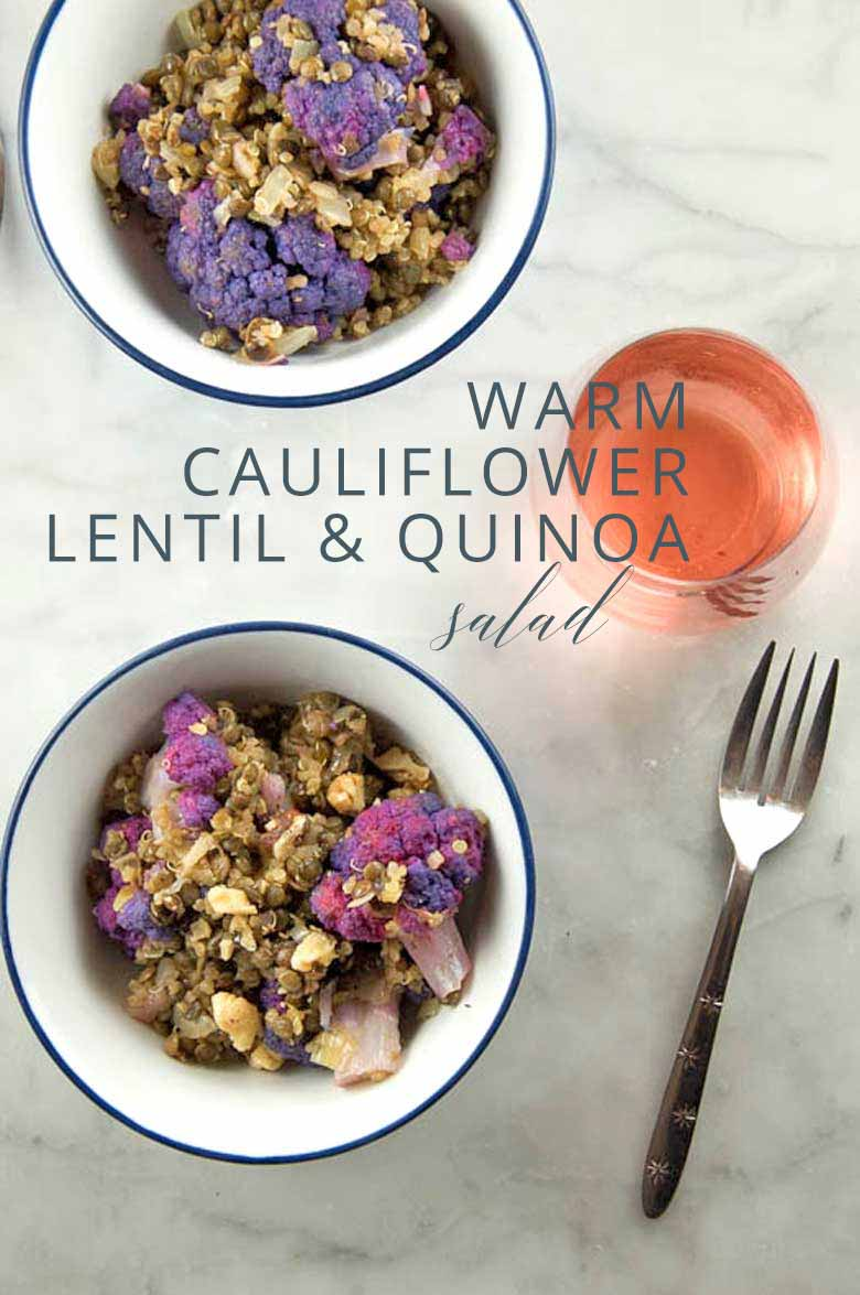 Warm Cauliflower, Lentil, and Quinoa Salad _ Umami Girl PIN
