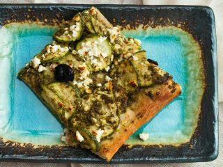 Zucchini and Feta Pesto Pizza Recipe