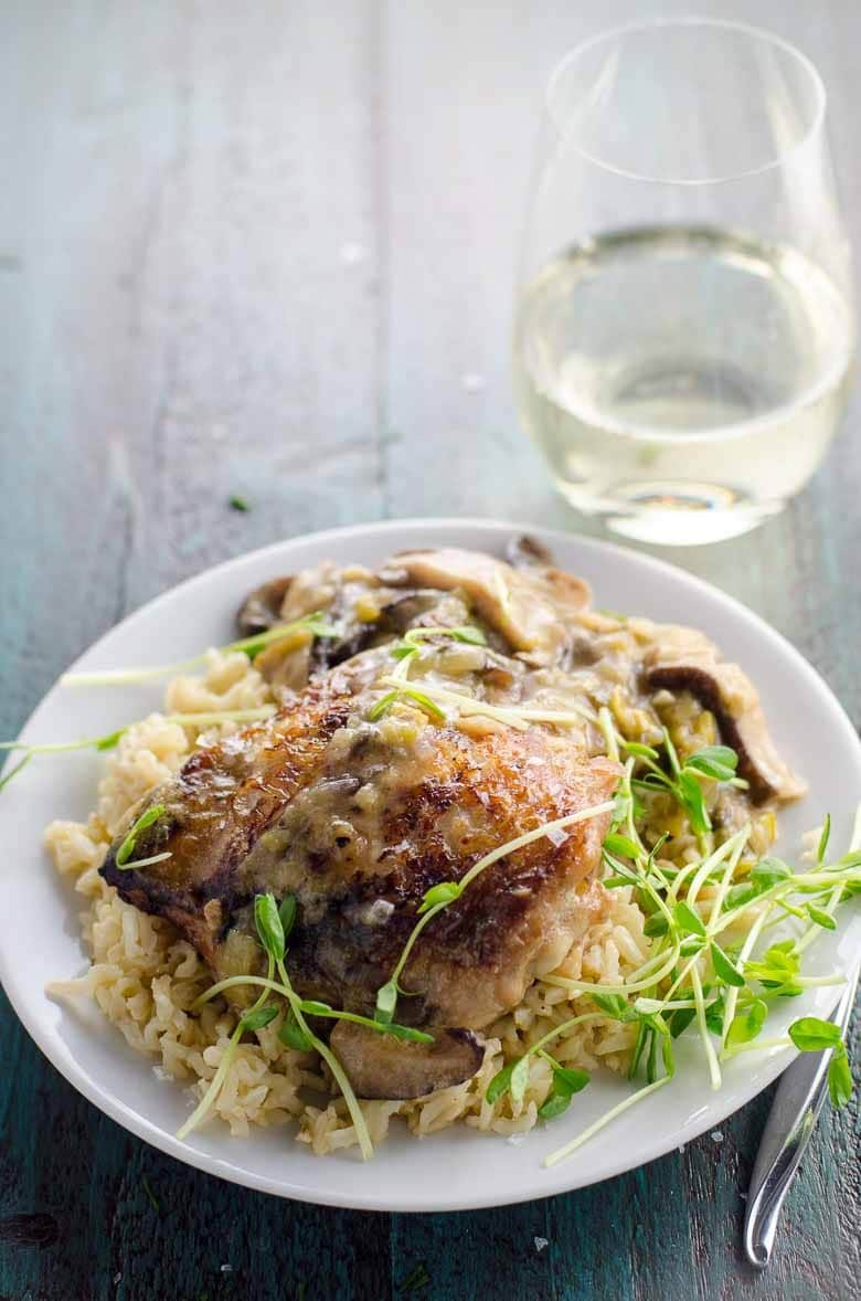 Braised Chicken Thighs with White Wine, Leeks and Mushrooms Plated 780 | Umami Girl