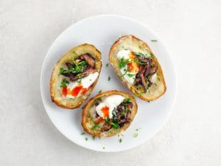 Potato Skins: Classic, or with Shiitake Bacon Bits
