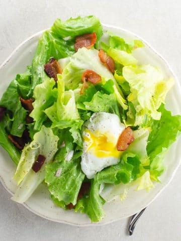Salad Lyonnaise (Winter Greens with Poached Egg and Lardons) | Umami Girl 780-2