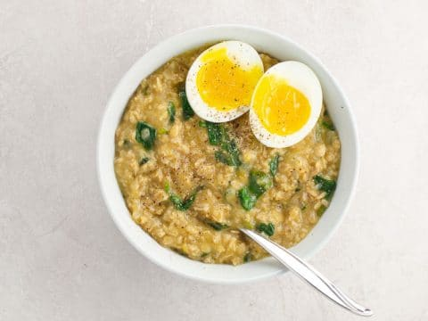 Savory Oatmeal with Shallots and Spinach | Umami Girl 780