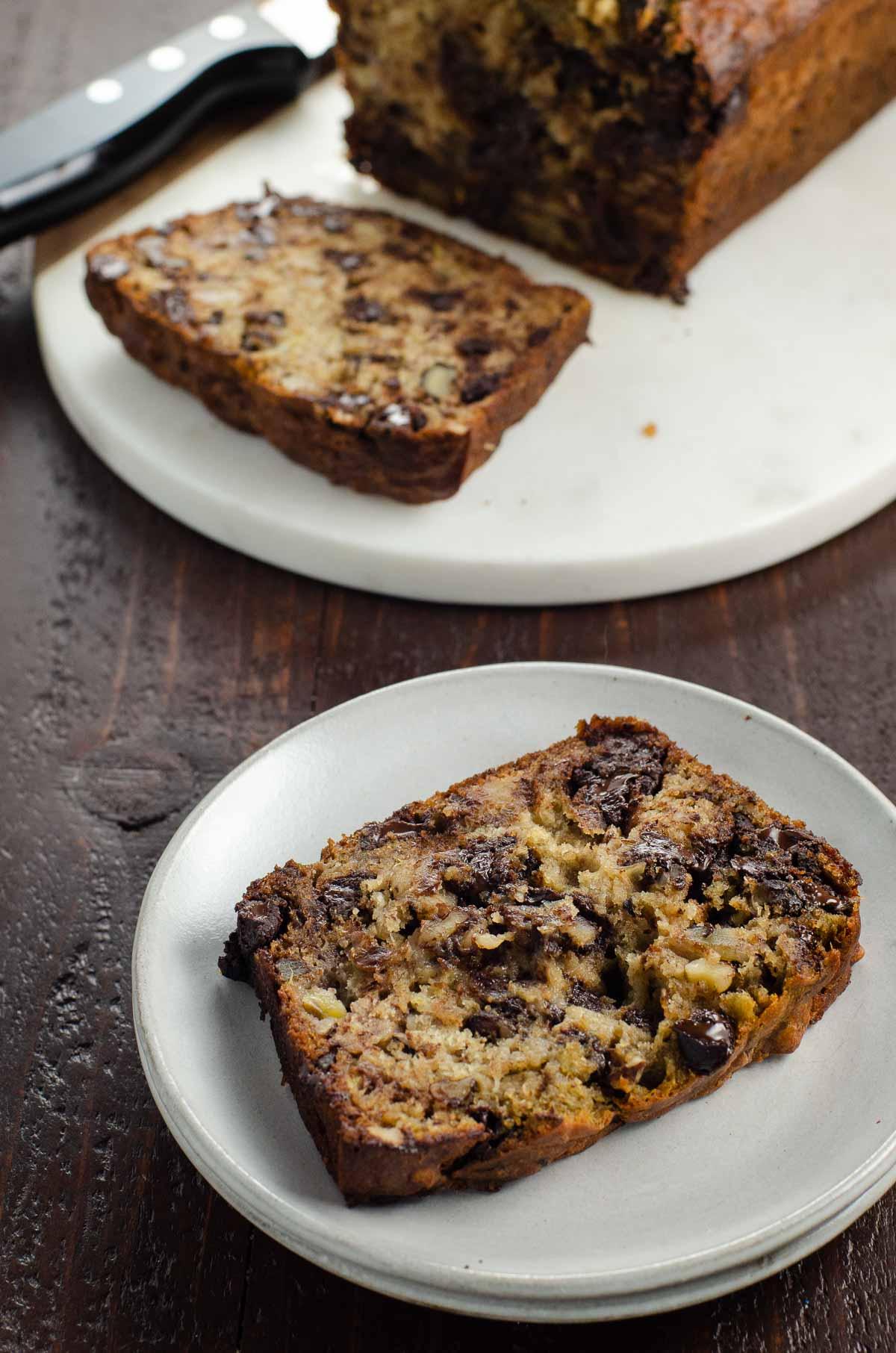 best chocolate chip banana bread recipe on plates