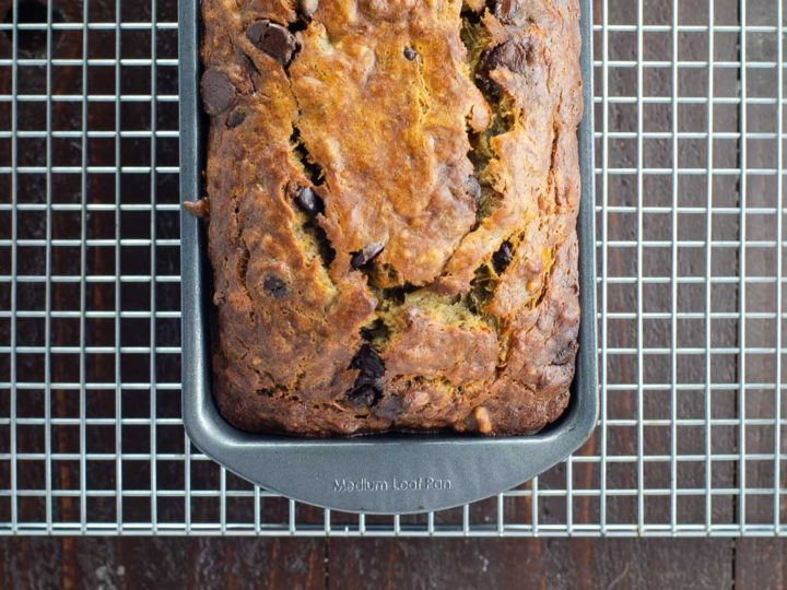 best chocolate chip banana bread recipe in a loaf pan
