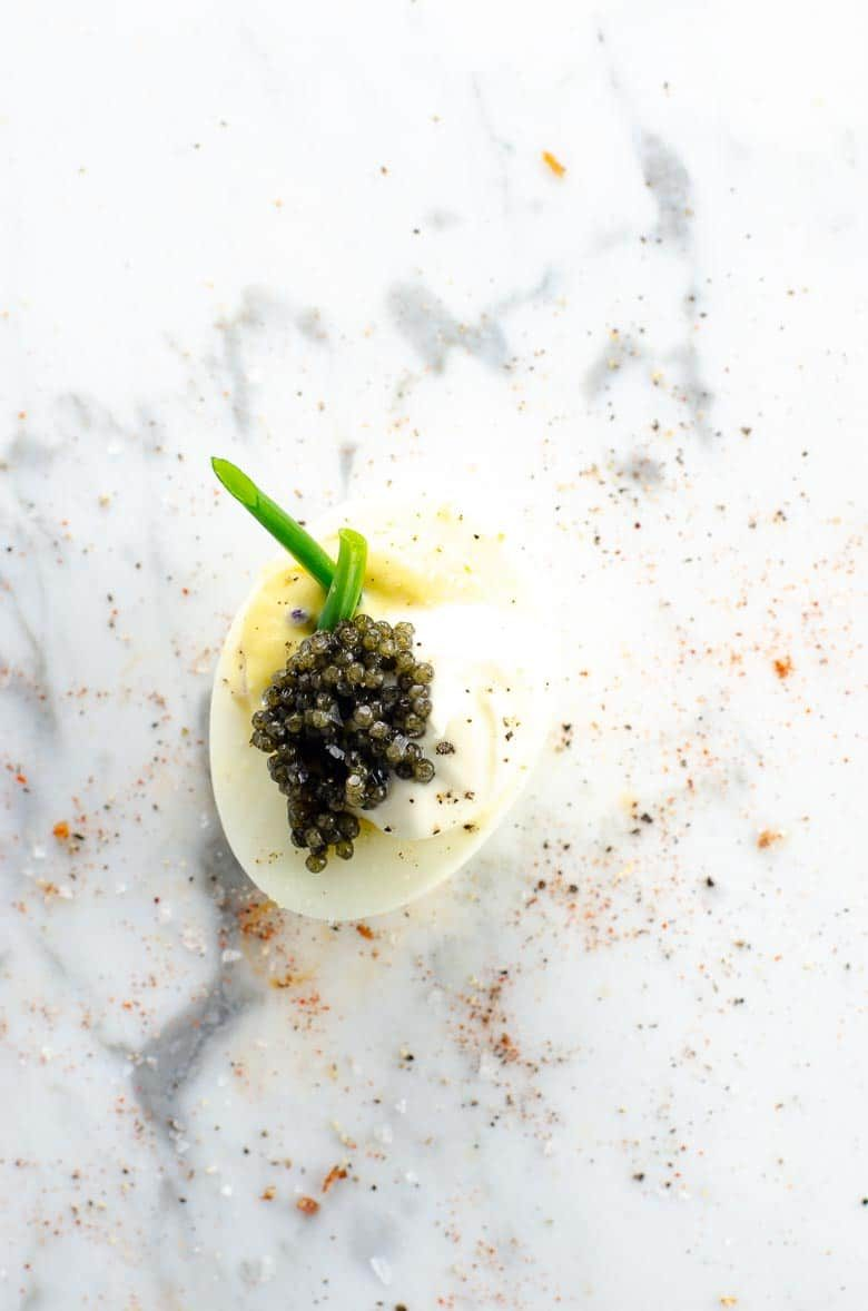 Deviled Eggs with Caviar and Creme Fraiche | Umami Girl 780