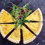 quiche slices and arugula salad