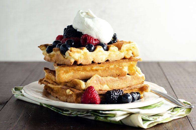 Waffles with Berries and Whipped Cream | Umami Girl 780-2
