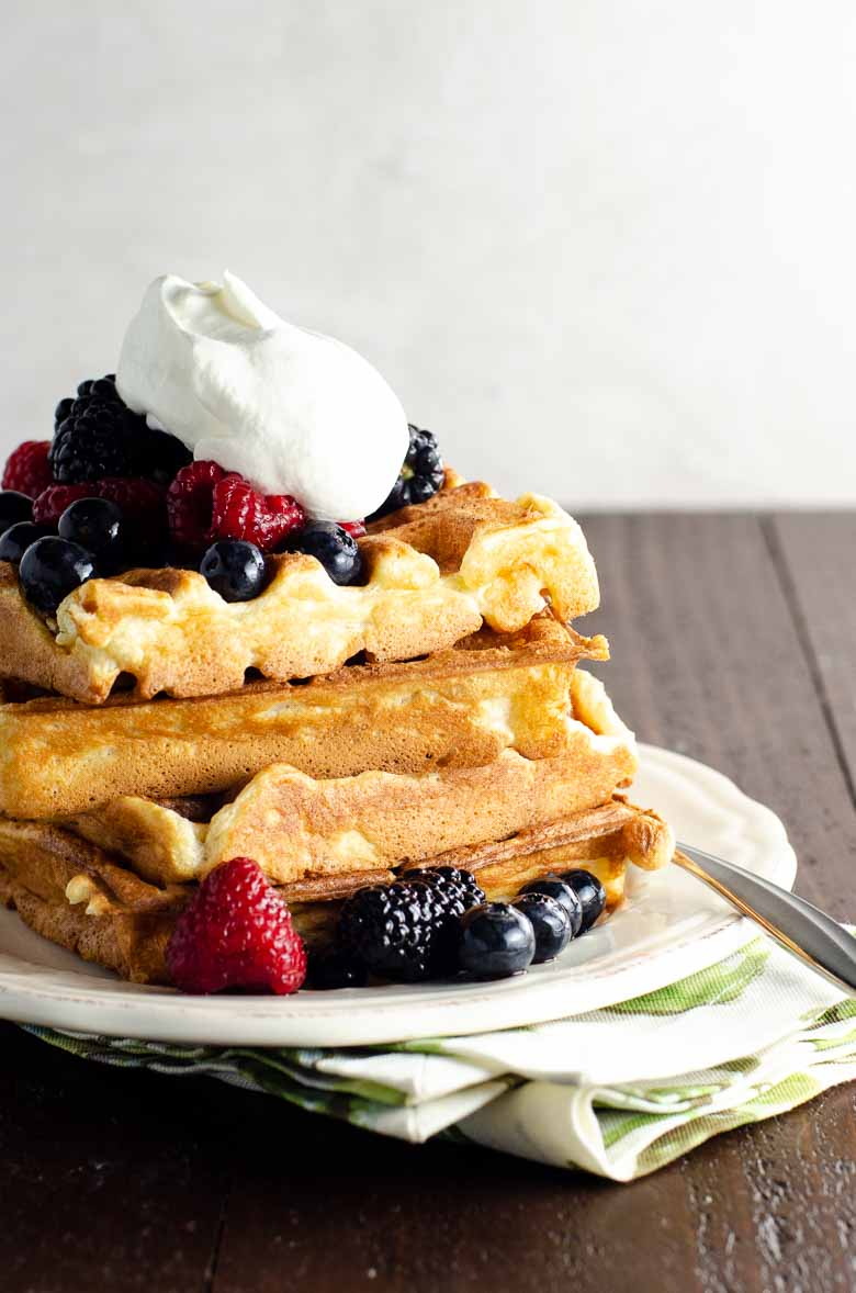 Waffles with Berries and Whipped Cream | Umami Girl 780