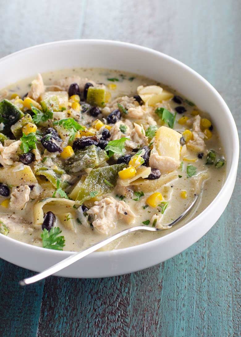 Chicken Poblano Soup with Corn, Black Beans and Potatoes | Umami Girl 780