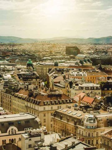 View of Vienna Austria from St. Stephen's Cathedral South Tower