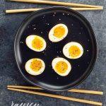 ramen eggs and chopsticks