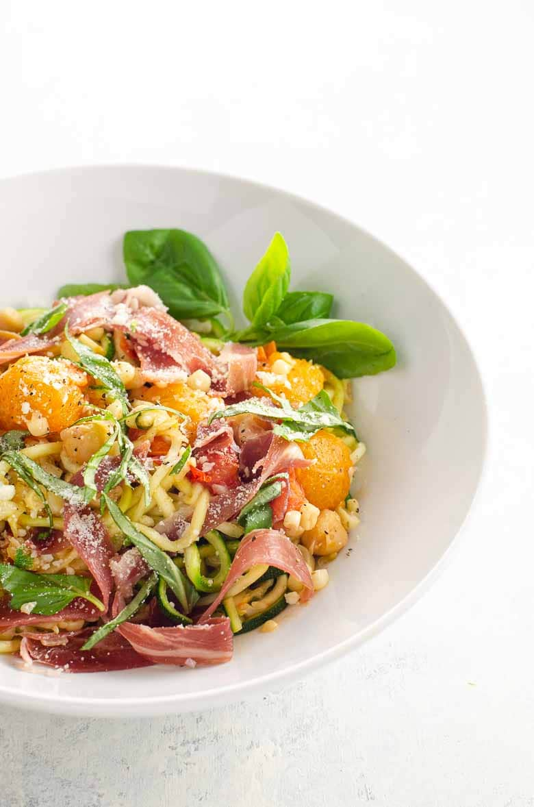 Zucchini Noodles with Jambon de Bayonne (Bayonne Ham) and Summer Veggies | Umami Girl-9
