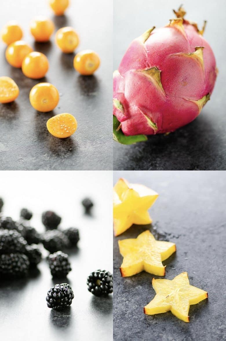 Cape Gooseberries, Dragon Fruit, Blackberries, and Star Fruit