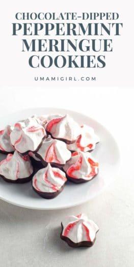 Chocolate Dipped Peppermint Meringue Cookies Pin _ Umami Girl