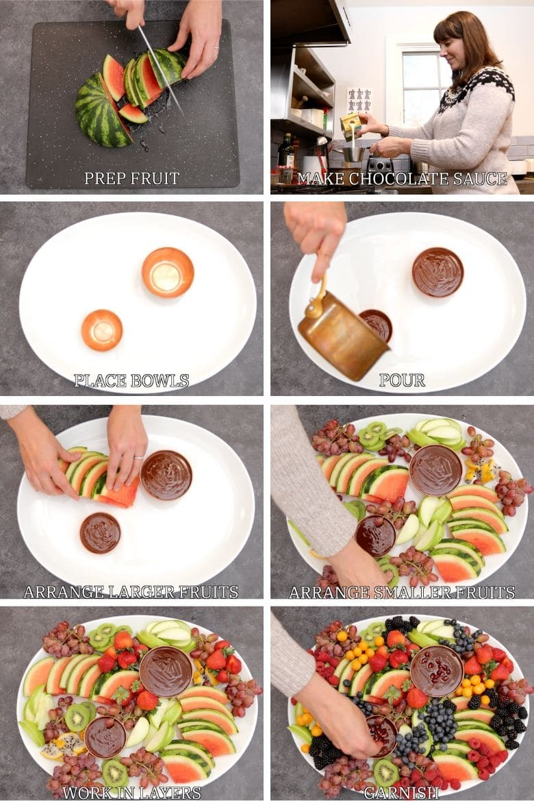 How to make an epic fruit platter with dark chocolate fruit dip step by step