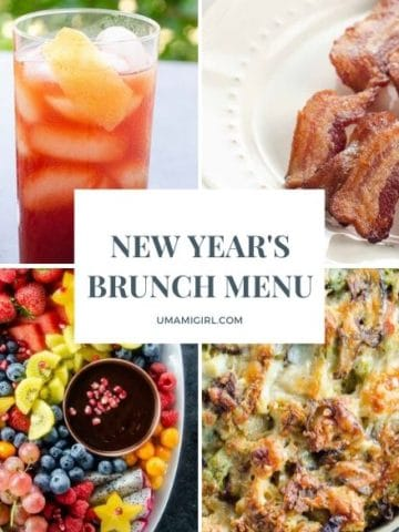 New Year's Day Brunch Menu items including a cocktail, bacon, a fruit platter, and a make-ahead vegetarian breakfast casserole