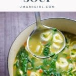 cheese tortellini and spinach soup in a pot with a ladle
