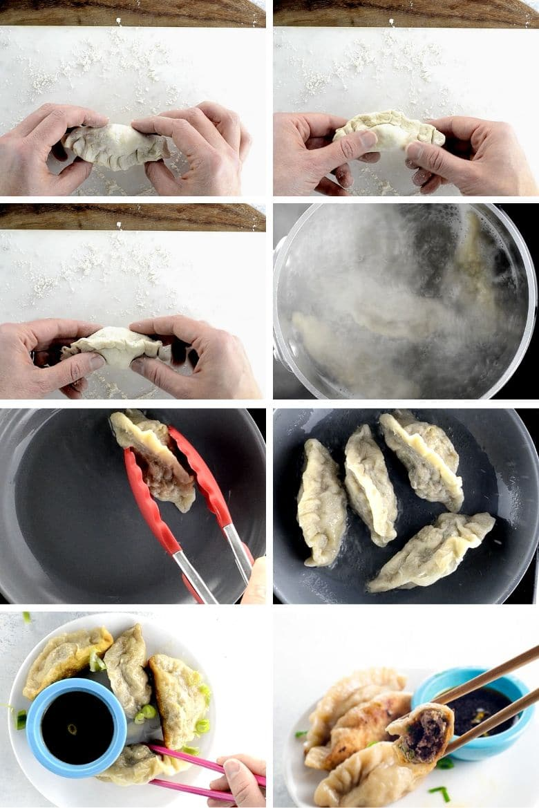 collage showing what a shaped raw dumpling looks like from several angles, then boiling the dumplings, pan frying them, and serving them