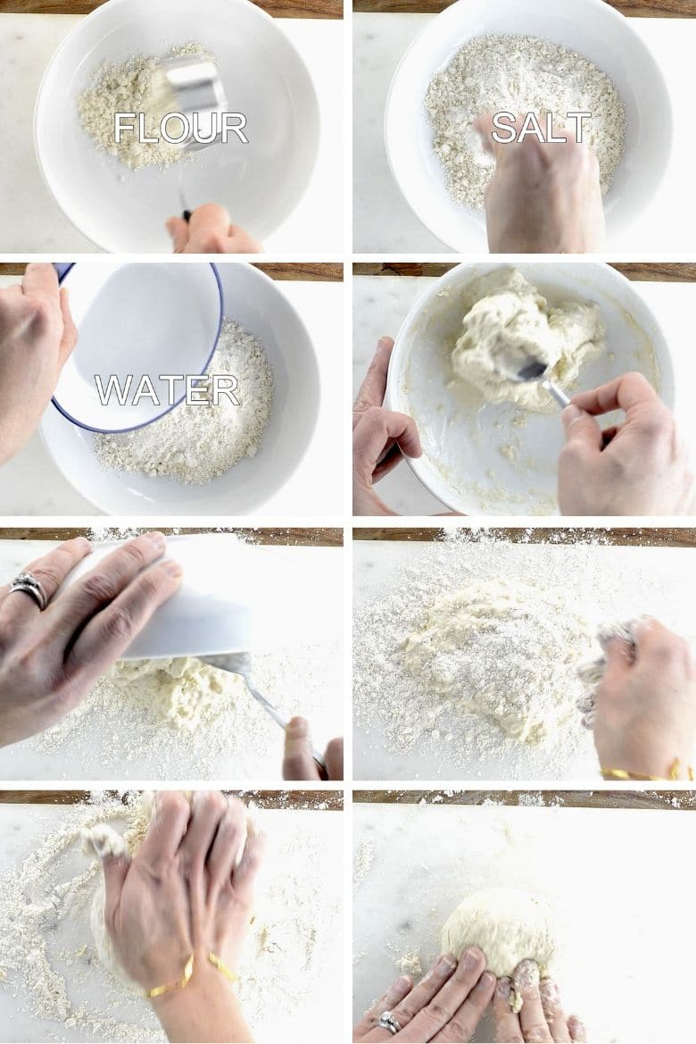 collage showing the first parts of the process of making dumpling dough, adding flour, water, and salt, and kneading the dough by hand
