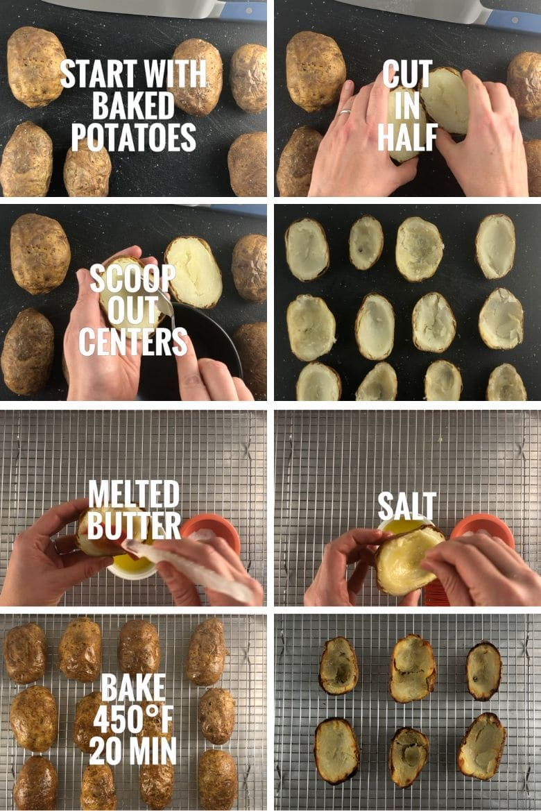 collage showing cutting baked potatoes in half, brushing with melted butter, sprinkling with salt, baking